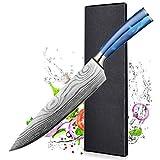 Cuchillo de Chef - 20cm BILLION DUO Cuchillo de Cocinero - Pro Cuchillos de Cocina, Mango Ergonómico de Resina Azul, la Mejor Opción para Cocina Casera y Restaurante, Caja de regalof