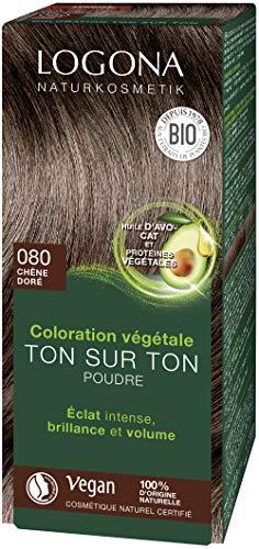 LOGONA Naturkosmetik Cosmétiques naturels Poudre de coloration aux herbes 080 brun naturel, à l'huile d'avocat, végétal et naturel, coloration naturelle des cheveux bruns au henné, coloration, 100g