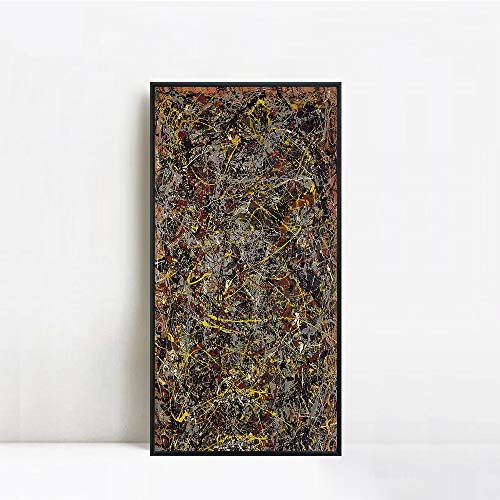 INVIN ART Framed Canvas Giclee Print Art Number 5 1948 by Jackson Pollock Abstract Wall Art Living Room Home Office Decorations(Black Slim Frame,20'x40')