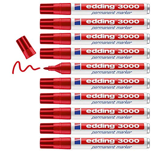 edding 3000 Permanentmarker - rot - 10 Stifte - Rund-Spitze 1,5-3 mm - schnell trocknender Permanent Marker - wasserfest, wischfest - für Karton, Kunststoff, Holz, Metall - Universalmarker