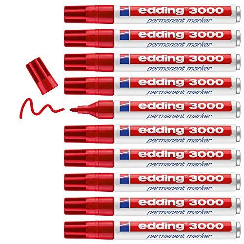 Edding 3000 marcador permanente - rojo - 10 rotuladores - punta redonda 1.5-3 mm - indeleble de secado rápido - resistente al agua y a los borrones - cartón, plástico, madera, metal, tela - universal