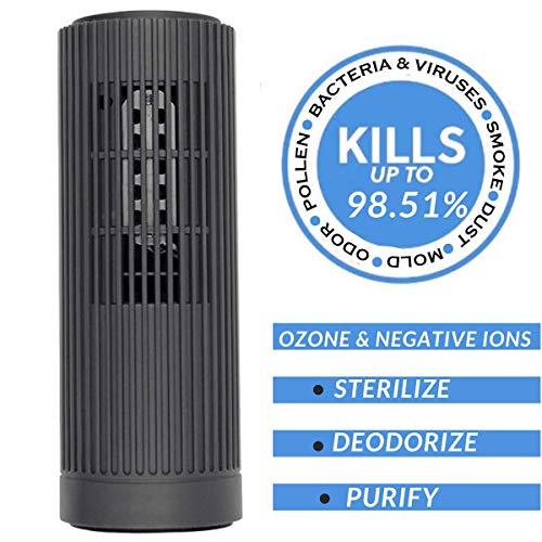 PurifiedO2 Portable Ionic Air Purifier - Ozone Generator with No Filter | Mini Air Ionizer for Car Travel Office Fridge | Bacteria, Mold,Smoke & Odor Eliminator -Dark Grey