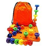 D DOLITY Kit Bloques de Construcción Juegos de Apilar Clavijas y Pizarras de Plástico Juguete Educativo de Plástico Aprendizaje Infantil