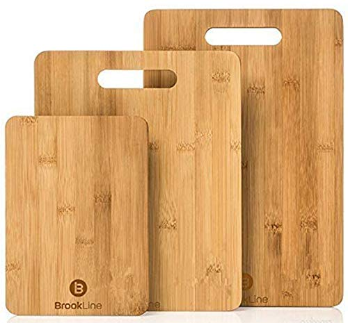 Brookline Wood Cutting Board Set - 3 Charcuterie Boards for Home & Kitchen Accessories - Made from Organic Bamboo, BPA Free - Used for Cooking, Meat (Butcher Block), Cheese and Vegetable Chopping