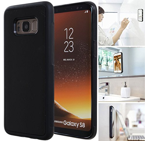 MONCA ] Anti Gravity Cellphone Case [Black] Magical Nano Technology Stick to Wall, Glass, Whiteboards, Tile, Smooth Flat Surfaces (Goat Case for Galaxy S8)