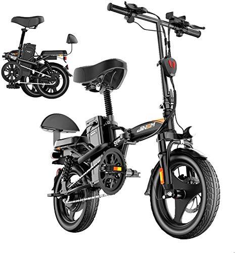 Leifeng Tower Alta Velocidad Bikefor eléctrica Adultos Plegable Bicicleta con Motor sin escobillas de 350W 14' a Prueba de Polvo de la batería de Litio de la Rueda 48V 10-25AH extraíble Impermeable y