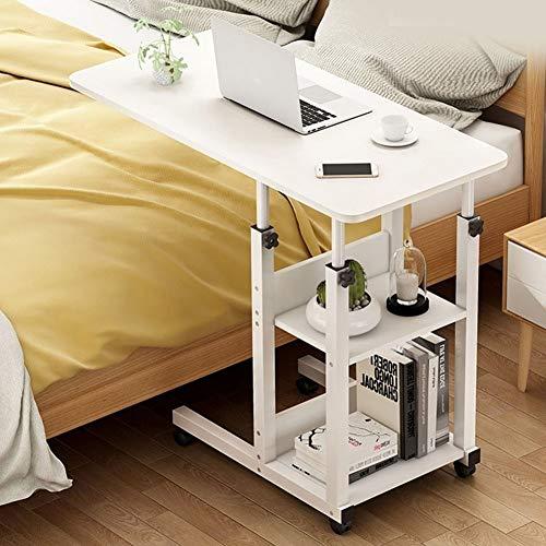 Altezza Regolabile Laptop Desk Carrello Portatile Vassoio Tavolino con 2 Ripiani di Stoccaggio E 4 Ruote, Pigro Comodino Scrivania da Tavolo for Divano Letto (Color : D, Size : 60x40cm)