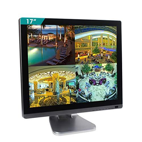 Cocar Monitor di sicurezza CCTV da 17 pollici BNC Scocca in argento cromato e pannello in vetro Schermo LCD a LED con display HD 4: 3 per Home Store Telecamera di sorveglianza PC 1280x1024