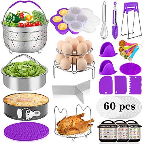 Aiduy 23 Pieces Accessories for Instant Pot 6,8 Qt, Pressure Cooker Accessories Set - 2 Steamer Baskets, Springform Pan, Stackable Egg Steamer Rack, Egg Bites Mold, 60 Pcs Parchment Paper