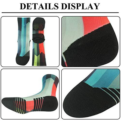 HUSO Men's Women's Cushion Mid Calf Novelty Athletic Dress Crew Socks 1,3,4,7 Pack