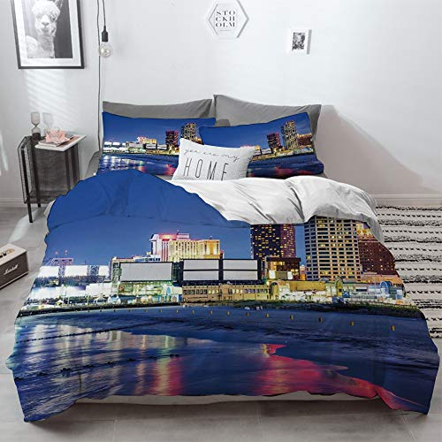 3 Piece Duvet Cover Set No Wrinkle Ultra Soft Bedding Set,City,Resort Casinos on Shore at Night Atlantic City New Jersey United States,Violet Blu,2 pillowcase 50 x 75cm 1 Pc Bed sheet 260 x 220cm