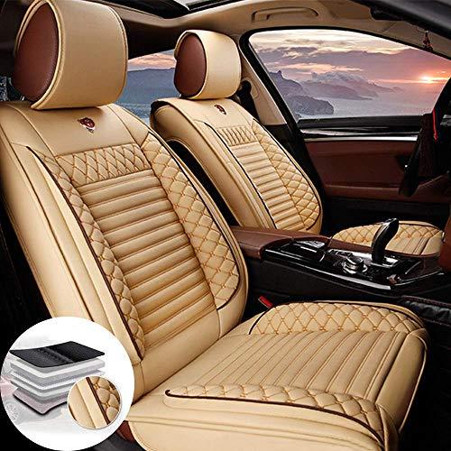 Qiaodi Juego de 2 fundas para asientos delanteros de coche de piel para Smart Forfour, compatible con airbag (beige)