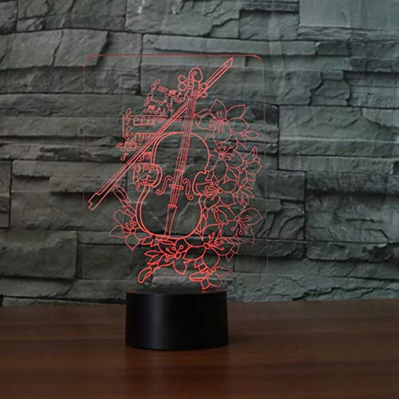 Laofan 3D Nacht Schlaf Visuelle Violine Tischlampe USB Wohnkultur Musikinstrumente Led Leuchte Musikalische Geschenke,Berührungsschalter