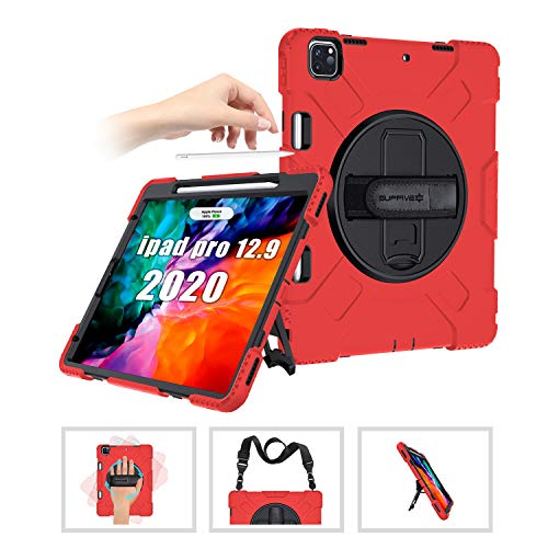SUPFIVES iPad 12.9 2020 Case 12.9 4th Generation with Pencil Holder+ Hand Strap+Shoulder Strap+Stand Full-Body Heavy Duty Rugged Shockproof Cover Case for iPad Pro 12.9 2020/2018(Red)