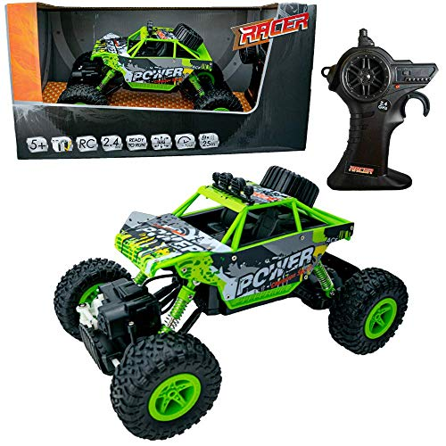 Kuultoy Racer Ferngesteuertes Auto, 1:18 2WD RC Auto Off Road Buggy, 2.4 Ghz Radio Control Geländewagen Spielzeug Fahrzeug für Kinder Erwachsene in grün
