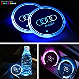 Interestingcar LED Car Cup Holder Lights,LED Car Logo Cup Holder Pad Waterproof Bottle Drinks Coaster Built-in Light 7 Colors Changing USB Charging Mat LED Cup Mat Car Atmosphere Lamp 2PCS (fit Audi)