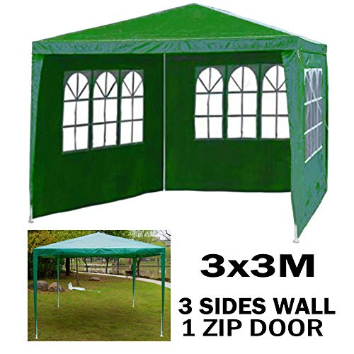 3x3m Gazebo Waterproof Garden Tent Marquee Awning Canopy 1 Zip door, 3 Side Walls with Windows Easy Assemble and Remove, 9 Square Meter, Green