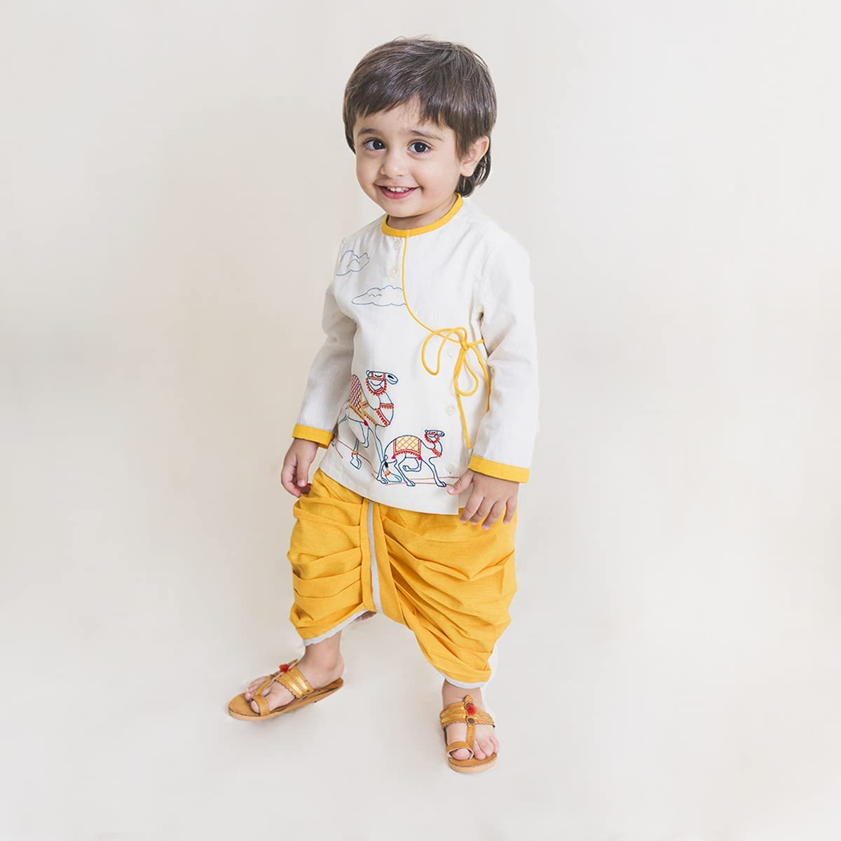 Baby Boy Cotton Embroidered Dhoti Set Camel (White)