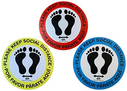 P.Q.P. 12' Round Vinyl Social Distancing Safety Floor Sticker/Decal/Sign/Marker (12pcs/Pack | 6 feet Tape Measure) | Bilingual | Easy to Peel, Stick & Remove/Clean Up | Anti-Slip & Waterproof (Blue)