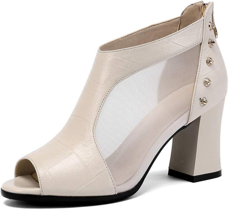 Nine Seven Genuine Leather Women's Round Peep Toe High Chunky Heel Graceful Handmade Fashion Back Zip Women Mesh Summer Boots with Rivet