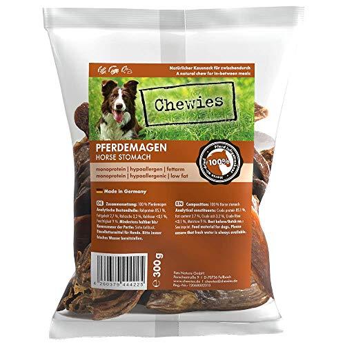 Chewies Hundeleckerli Pferdemagen in Streifen - getrocknet, fettarm, hypoallergen - Monoprotein Leckerlis für Ihren Hund, hochwertige Fleisch Leckerlie für Hunde, 300 g