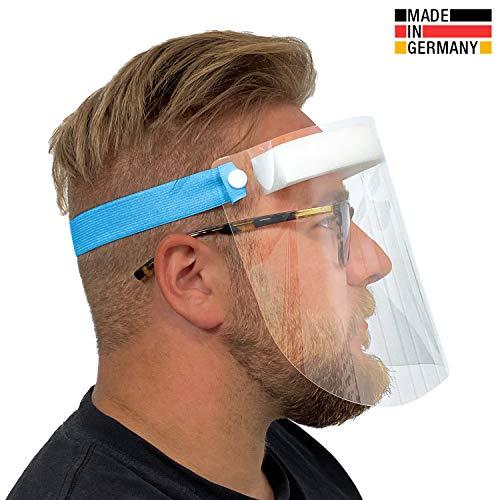 Urhome Hard 1 x Visier Gesichtsschutz aus Kunststoff | Face Shield in Blau | Universales Gesichtsvisier für Erwachsene | Visier zum Schutz vor Flüssigkeiten | Made in Germany