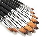 9 Pieces Artist Paint Brushes Nylon Filbert Paint Long Handle Value Set for Oils, Acrylic, Gouache & Watercolor Painting-Lightwish (Filbert Paint)