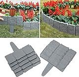 Xiaol Grey Stone Lot de 20 bordures de pelouse effet marteau dans les pavés en pierre pour le jardin