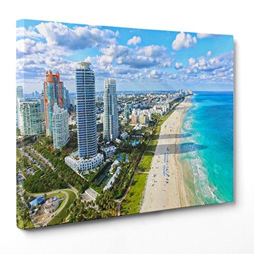 QUADRO SU TELA CANVAS - INTELAIATO - PRONTO DA APPENDERE - Miami Beach - USA America FLORIDA - 30x40cm - Senza Cornice - (cod.1674)