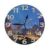 xinping San Antonio Reloj de pared de moda redondo reloj digital lujo mute relojes de pared Características decoración interior