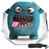 Cute Furry Monster Manual Plegado Triple Plegable Paraguas de Lluvia de Viaje Protección UV Fuerte Resistente al Viento