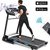 ANCHEER Treadmill, 3.25HP TFolding Treadmill with APP Control and Automatic Incline, Running Walking Jogging Machine for Home/Office/Gym Cardio Use (Black)