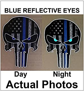 Thin Blue Line Punisher Skull with Blue Reflective Eyes Police Officer BLM American Flag Vinyl Decal Sticker Car Truck 4