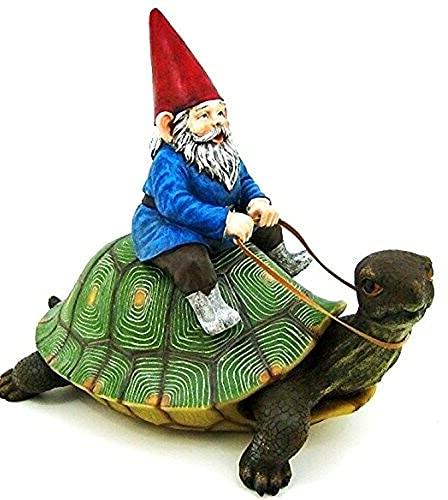 funny gnome riding turtle