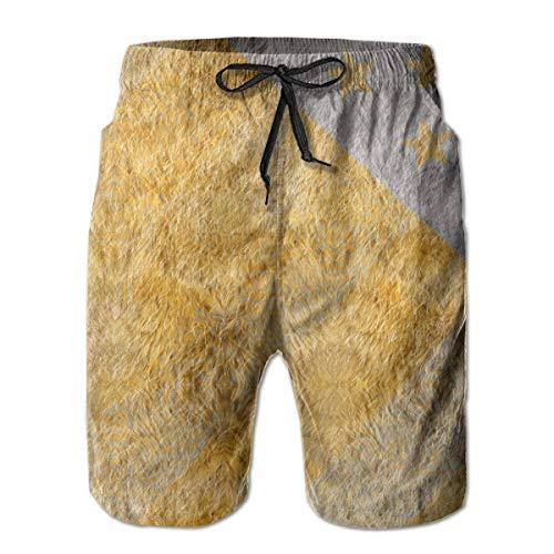 Herren Badehose Goldene Flagge der USA Schnelltrocknende Kordelzug Surfing Beach Shorts mit Taschen, Größe XL