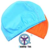 Qualtiy Yes QY 2Pack Superior Polyester Cloth Fabric Bathing Cap Swimming Caps Swimming Hats for Water Sports, Orange Color and Sky Blue