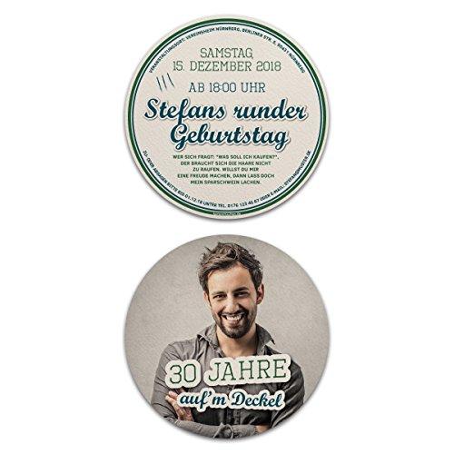 60 x Runde Geburtstag Einladungskarten Foto Einladung - Bierdeckel Motiv Auf'm Deckel