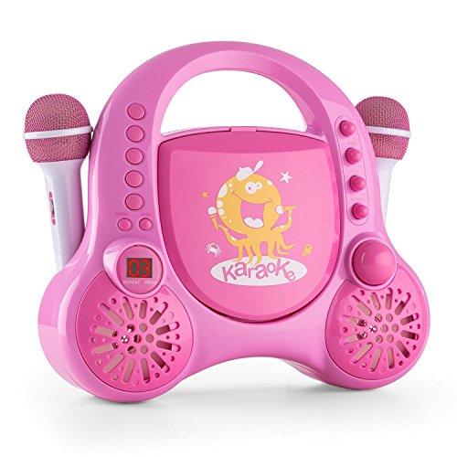 auna Rockpocket - Karaoke Set, Karaoke Anlage, Karaoke Player, CD-Player, Stereolautsprecher, programmierbar, Wiederholfunktion, Batteriebetrieb möglich, 2X dynamisches Mikrofon, pink