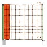 VOSS.farming Rete per recinzioni da pascolo elettrificabili, Altezza 120 cm e 50 m di Lunghezza, a Punta Doppia, 14 Pali Verdi, Colore Arancione, scaccia Lupi