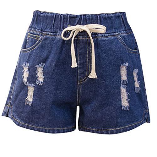WOZOW Damen Jeanshose Denim Shorts Kurze Hose Übergröße Zerrissene Destroyed Ripped Distressed Casual Loose Solid Einfarbig A Line Mini Hosen Freizeithose High Waist Trousers (2XL,Dunkelblau)
