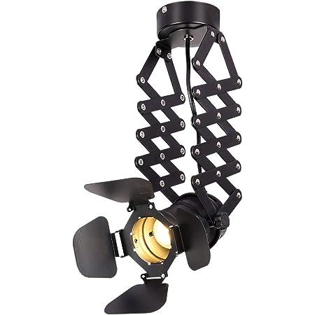 Plafonnier Industriel Led E27 Luminaire Plafonnier Industriel Design Ajustable Suspension Rétro Loft Spot de Plafond Noir en Métal (avec ampoule)