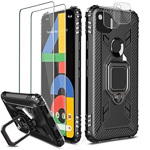 Milomdoi [5 Einheits] 1 Hülle+ 2 Stücks HD Schutzfolie+ 2 Stücks Kamera Schutzfolie für Google Pixel 4A, [Not fit 4A 5G] [Antikollisions ] 360 Grad Cover Magnetische TPU Silikon Schutzhülle-Schwarz