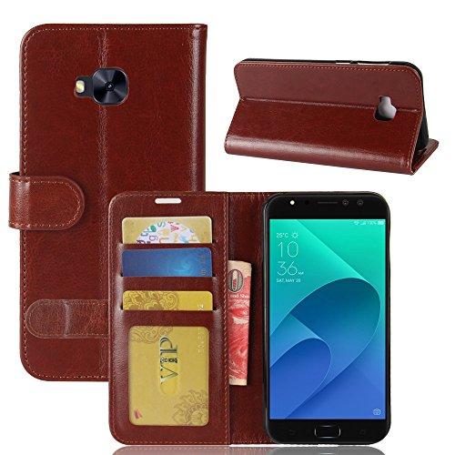 pinlu® Premium Geschäfts Art PU Leder Etui Schutzhülle Für Asus Zenfone 4 Selfie Pro ZD552KL (5.5 Zoll) Lederhülle Flip Hülle Brieftasche Mit Stand Function Innenschlitzen Design Braun