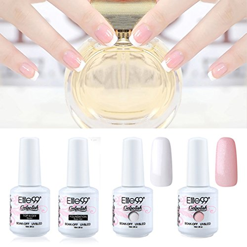 Elite99 Gel Polish 4 Bottles White Pink French Manicure Nail Top Base Coat w/Free Tip Guides Stickers