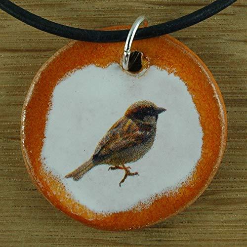 Echtes Kunsthandwerk: Toller Keramik Anhänger mit einem Spatz; Garten, Vogel, Terasse, Sperling, Singvogel