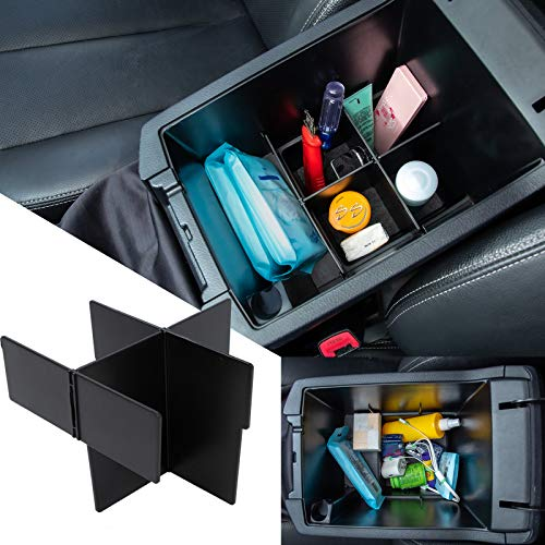 JDMCAR Center Console Organizer Compatible with Toyota 4Runner Accessories 2010-2020 2021 2022, Insert ABS Black Materials Compartment Divider- Upgraded Version