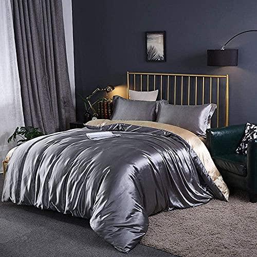 copripiumino singolo bambino letto ,Copripiumino Matrimoniale Cotone,Set di quattro pezzi di fogli qualificati di seta ghiacciata sono set di biancheria da letto di seta di simulazione-Grayrop Green