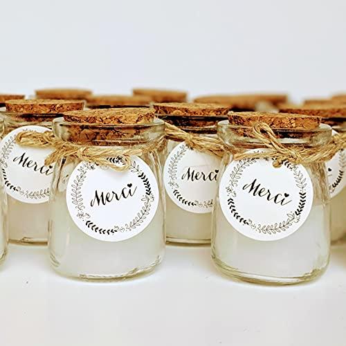 12 candele in barattolo di vetro con etichetta MERCI, cordino e coperchio in sughero, idea regalo per invitati e matrimonio