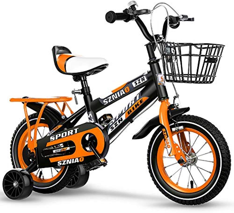 BAICHEN Kinderfahrrder 12 14 16 18 Zoll, Kohlenstoffstahl Fahrrad für Kinder Mit dem Trainingsrad Geschenk für 2-9 Jahre Jungen und Mdchen (3 Farben),Orange,18inches