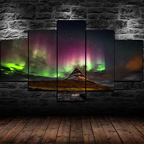 Cuadro Sobre Lienzo 5 Pieza 150X100Cm Aurora Boreal Auroras Boreales Impresión De Lienzo De Pared Arte Pintura Para Moderna Decoración Para El Hogar Pintura Fotos Impresiones Obra Arte Decoración Dor